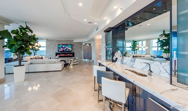 Bar Area in Penthouse Residence 26A, Tower I at The Palms, Luxury Oceanfront Condos in Fort Lauderdale, Florida 33305.