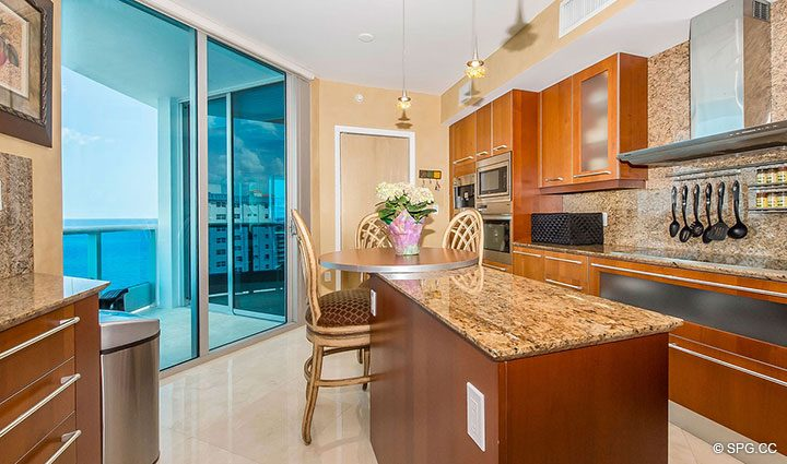 Fantastic Kitchen inside Residence 1204 For Sale at Aquazul, Luxury Oceanfront Condominiums Lauderdale by the Sea, Florida 33062