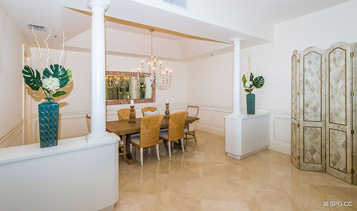 Dining Room inside Residence 204 at Bellaria, Luxury Oceanfront Condominiums in Palm Beach, Florida 33480.