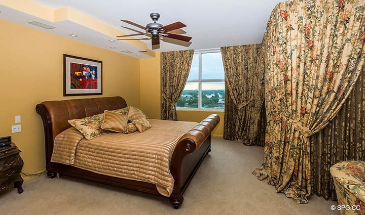 Master Bedroom inside Residence 9B, Tower I at The Palms, Luxury Oceanfront Condos in Fort Lauderdale, Florida 33305.