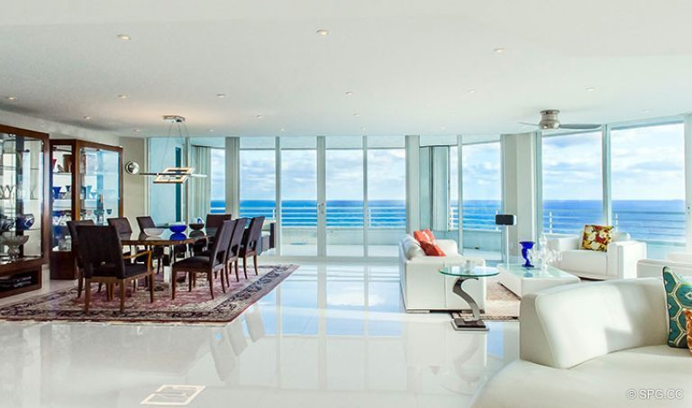 Living Room and Dining Room in Residence 18D at Cristelle, Luxury Oceanfront Condominiums in Lauderdale by the Sea, Florida 33062.