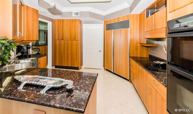 Kitchen with High-End Appliances in Residence 15E, Tower II at The Palms, Luxury Oceanfront Condos in Fort Lauderdale, Florida 33305.