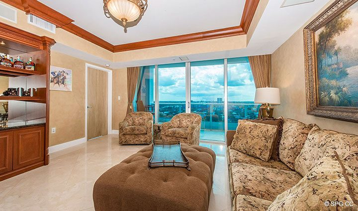 Family Room with Terrace Access in Residence 1204 For Sale at Aquazul, Luxury Oceanfront Condominiums Lauderdale by the Sea, Florida 33062