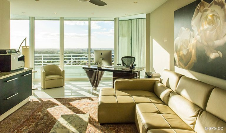 Office inside Residence 18D at Cristelle, Luxury Oceanfront Condominiums in Lauderdale by the Sea, Florida 33062.