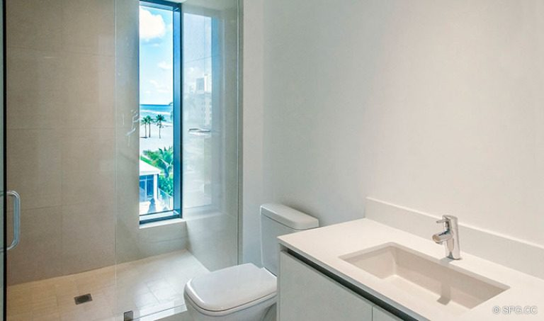 Guest Bathroom inside Residence 4B at Sage Beach, Luxury Oceanfront Condominiums in Hollywood, Florida 33019