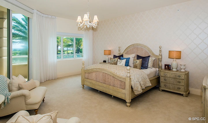 Master Bedroom inside Residence 204 at Bellaria, Luxury Oceanfront Condominiums in Palm Beach, Florida 33480.