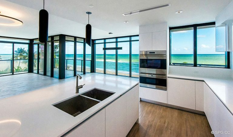 Kitchen inside Residence 4B at Sage Beach, Luxury Oceanfront Condominiums in Hollywood, Florida 33019