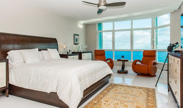 Master Bedroom inside Residence 18D at Cristelle, Luxury Oceanfront Condominiums in Lauderdale by the Sea, Florida 33062.