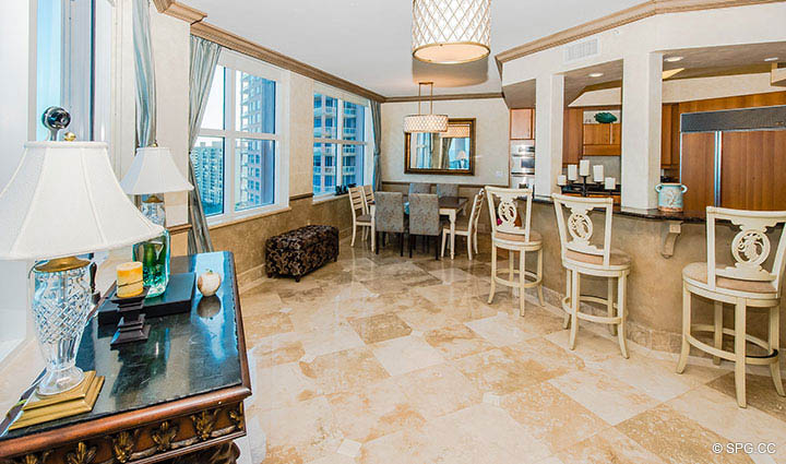 Kitchen Bar Area in Residence 17B, Tower II at The Palms, Luxury Oceanfront Condos in Fort Lauderdale, Florida 33305.