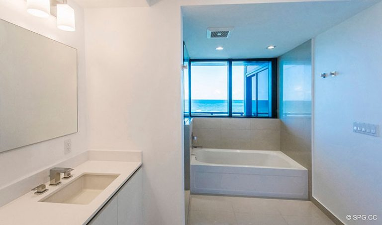 Oceanfront Master Bath in Residence 4B at Sage Beach, Luxury Oceanfront Condominiums in Hollywood, Florida 33019