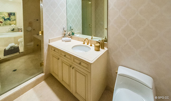 His and Her Master Bath in Residence 204 at Bellaria, Luxury Oceanfront Condominiums in Palm Beach, Florida 33480.