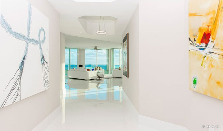 Hall Leading to Living Room in Residence 18D at Cristelle, Luxury Oceanfront Condominiums in Lauderdale by the Sea, Florida 33062.