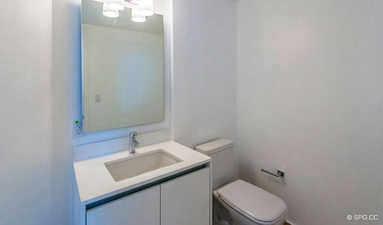 Powder Room inside Residence 4B at Sage Beach, Luxury Oceanfront Condominiums in Hollywood, Florida 33019