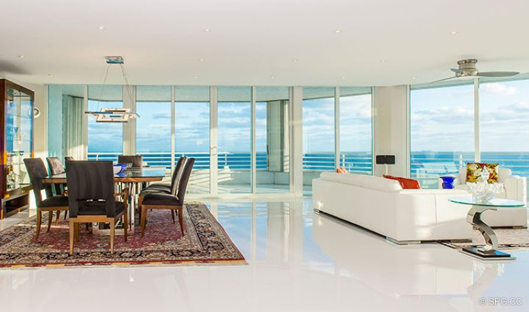 Living and Dining Area inside Residence 18D at Cristelle, Luxury Oceanfront Condominiums in Lauderdale by the Sea, Florida 33062.
