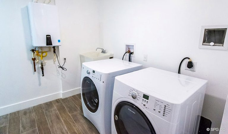 Laundry Room inside Residence 4B at Sage Beach, Luxury Oceanfront Condominiums in Hollywood, Florida 33019