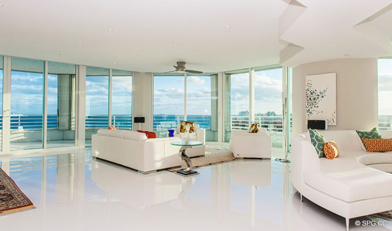 Large Open Living Area in Residence 18D at Cristelle, Luxury Oceanfront Condominiums in Lauderdale by the Sea, Florida 33062.