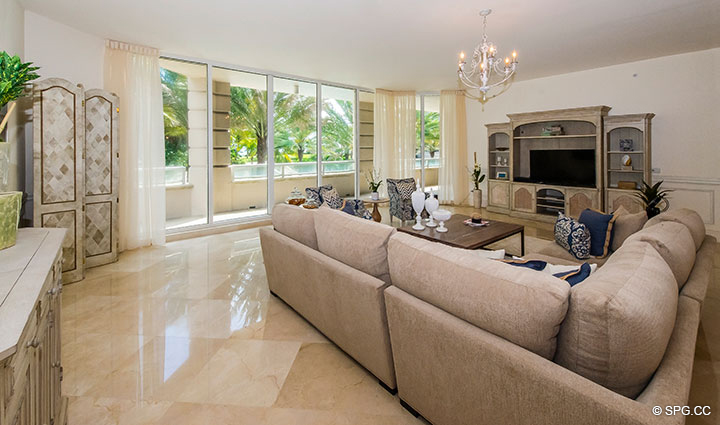 Spacious Living Room in Residence 204 at Bellaria, Luxury Oceanfront Condominiums in Palm Beach, Florida 33480.