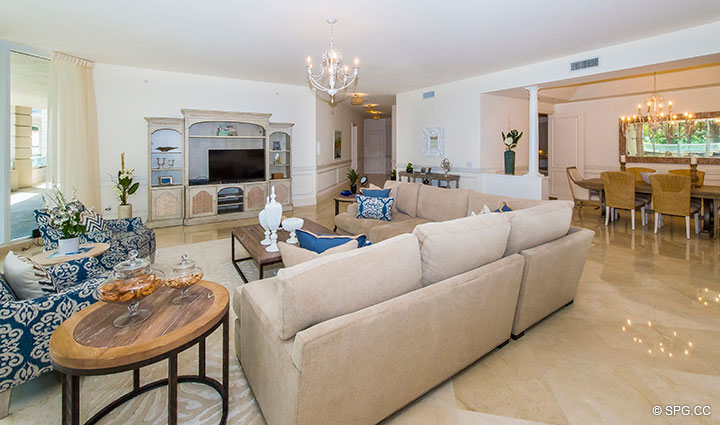 Large Open Living Room in Residence 204 at Bellaria, Luxury Oceanfront Condominiums in Palm Beach, Florida 33480.