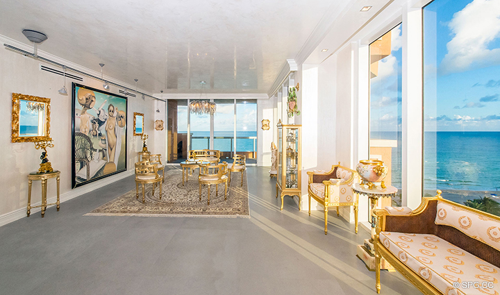 Spacious Great Room in Residence 1106 at Acqualina, Luxury Oceanfront Condominiums in Sunny Isles Beach, Florida 33160