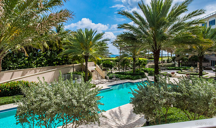 Terrace Views from Residence 204 at Bellaria, Luxury Oceanfront Condominiums in Palm Beach, Florida 33480.