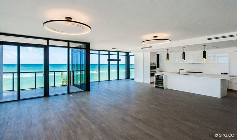 Living Room inside Residence 4B at Sage Beach, Luxury Oceanfront Condominiums in Hollywood, Florida 33019