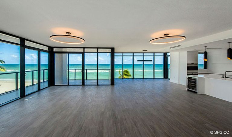 Living Room Ocean Views in Residence 4B at Sage Beach, Luxury Oceanfront Condominiums in Hollywood, Florida 33019