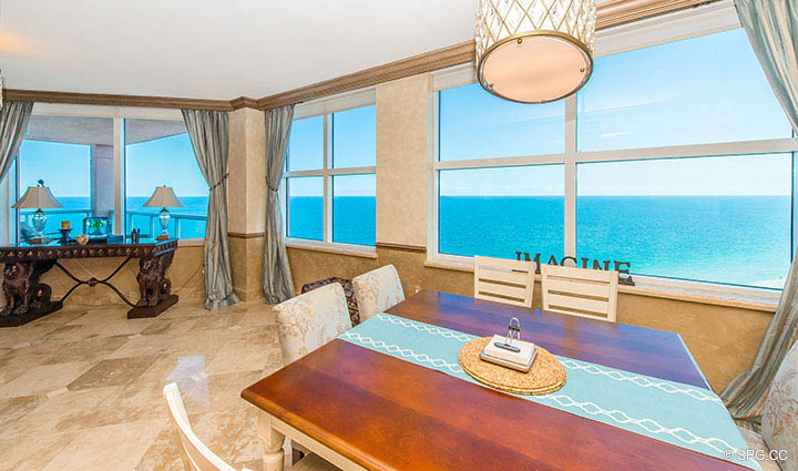 Dining Area in from Residence 17B, Tower II at The Palms, Luxury Oceanfront Condos in Fort Lauderdale, Florida 33305.
