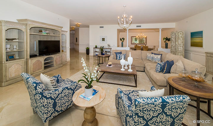 Beautiful Open Living Room in Residence 204 at Bellaria, Luxury Oceanfront Condominiums in Palm Beach, Florida 33480.