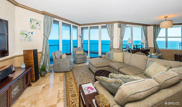 Living Room inside Residence 17B, Tower II at The Palms, Luxury Oceanfront Condos in Fort Lauderdale, Florida 33305.
