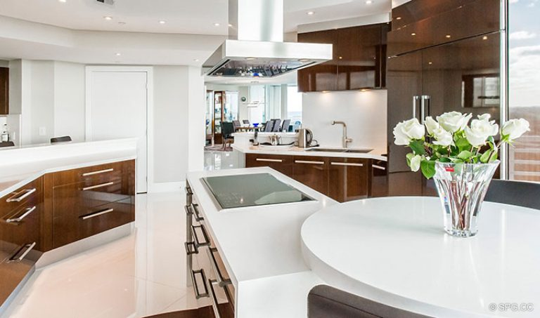 Gourmet Kitchen in Residence 18D at Cristelle, Luxury Oceanfront Condominiums in Lauderdale by the Sea, Florida 33062.