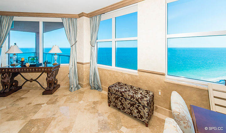 Ocean Views Abound from Residence 17B, Tower II at The Palms, Luxury Oceanfront Condos in Fort Lauderdale, Florida 33305.