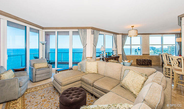 Living Room with Terrace Access in Residence 17B, Tower II at The Palms, Luxury Oceanfront Condos in Fort Lauderdale, Florida 33305.