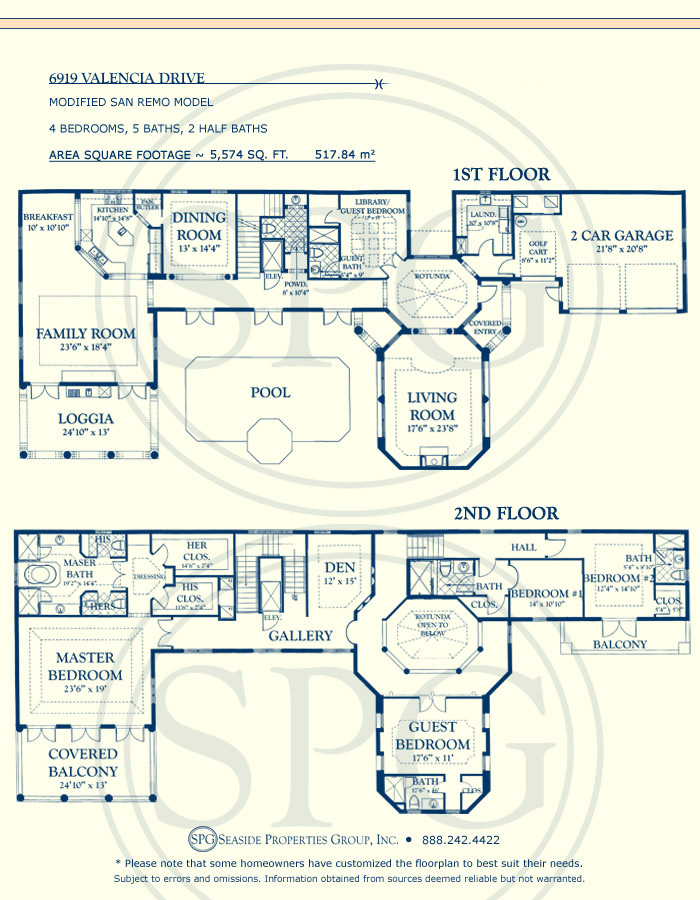 Floorplan for 6919 Valencia Drive, Fisher Island, Florida 33109
