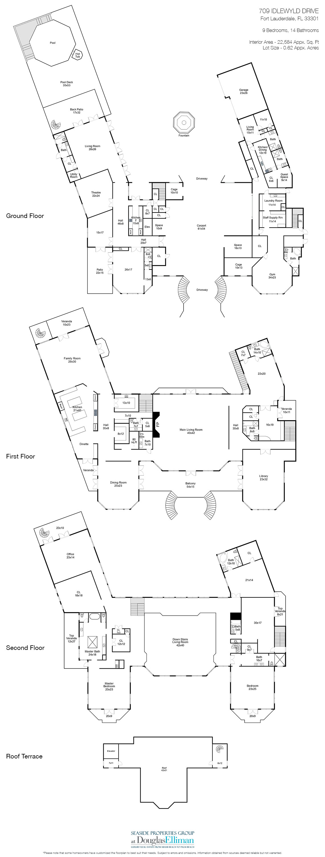 Floorplans for Luxury Estate Home, 709 Idlewyld Drive, Fort Lauderdale, Florida 33301