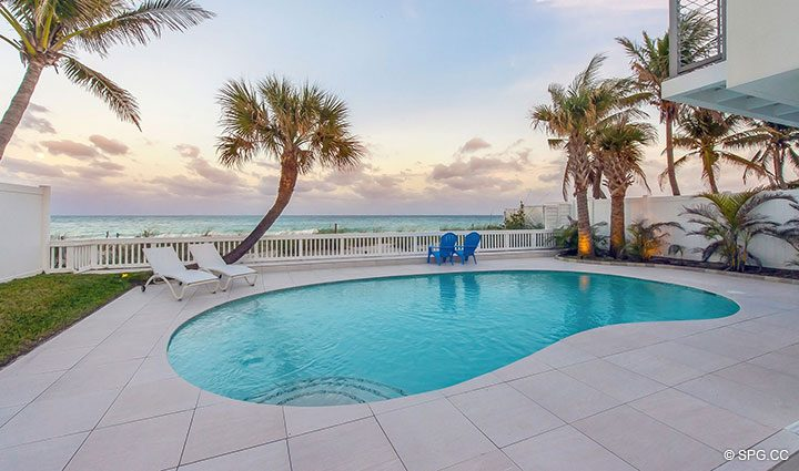 Sunset Pool Deck at Luxury Oceanfront Home, 2712 North Atlantic Boulevard, Fort Lauderdale, Florida 33308