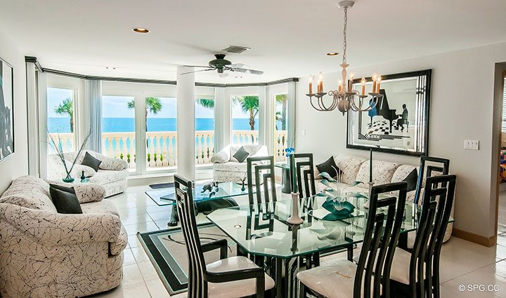 Dining Area and Family Room in Luxury Estate Home, 2618 North Atlantic Boulevard, Fort Lauderdale, Florida 33308