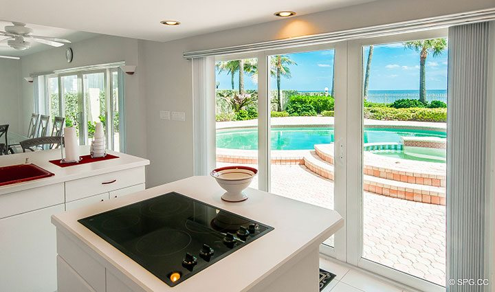 Downstairs Kitchen View in Luxury Estate Home, 2618 North Atlantic Boulevard, Fort Lauderdale, Florida 33308
