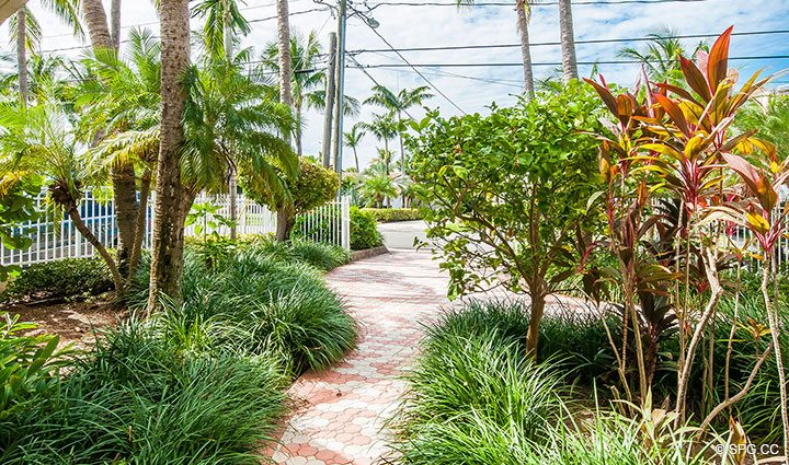 Path to Front Driveway in Luxury Estate Home, 2618 North Atlantic Boulevard, Fort Lauderdale, Florida 33308