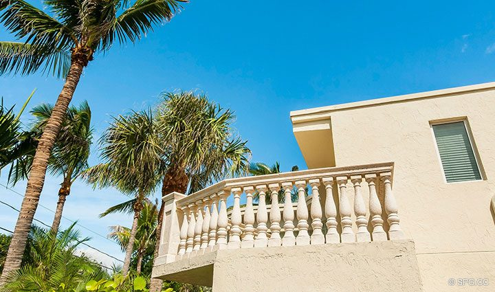 Second Floor Balcony at Luxury Estate Home, 2618 North Atlantic Boulevard, Fort Lauderdale, Florida 33308