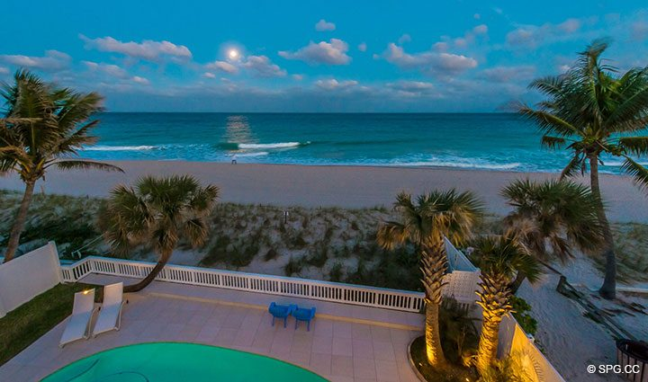 Evening Ocean Views from Luxury Oceanfront Home, 2712 North Atlantic Boulevard, Fort Lauderdale, Florida 33308