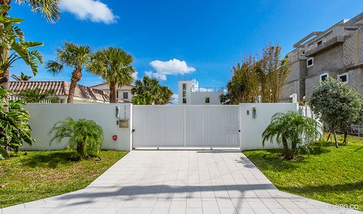 Private Gated Driveway at Luxury Oceanfront Home, 2712 North Atlantic Boulevard, Fort Lauderdale, Florida 33308