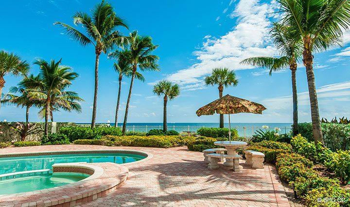 Beachfront Pool Area at Luxury Estate Home, 2618 North Atlantic Boulevard, Fort Lauderdale, Florida 33308
