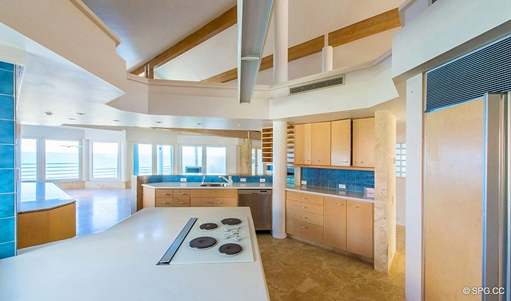 Kitchen from Luxury Oceanfront Home, 3036 North Atlantic Boulevard, Fort Lauderdale, Florida 33308