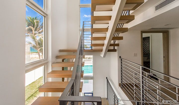 Staircase in Luxury Oceanfront Home, 2712 North Atlantic Boulevard, Fort Lauderdale, Florida 33308