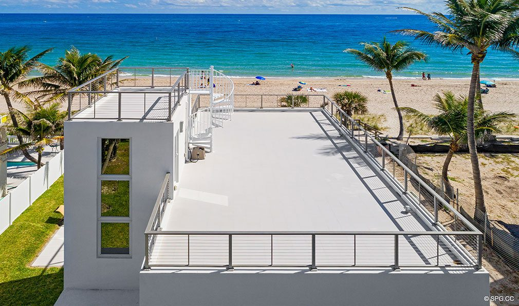 Aerial of Roof Deck at Luxury Oceanfront Home, 2712 North Atlantic Boulevard, Fort Lauderdale, Florida 33308