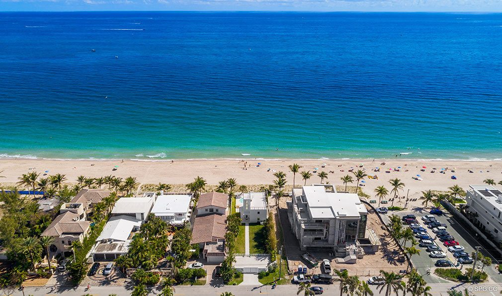 Eastern Aerial View of Luxury Oceanfront Home, 2712 North Atlantic Boulevard, Fort Lauderdale, Florida 33308