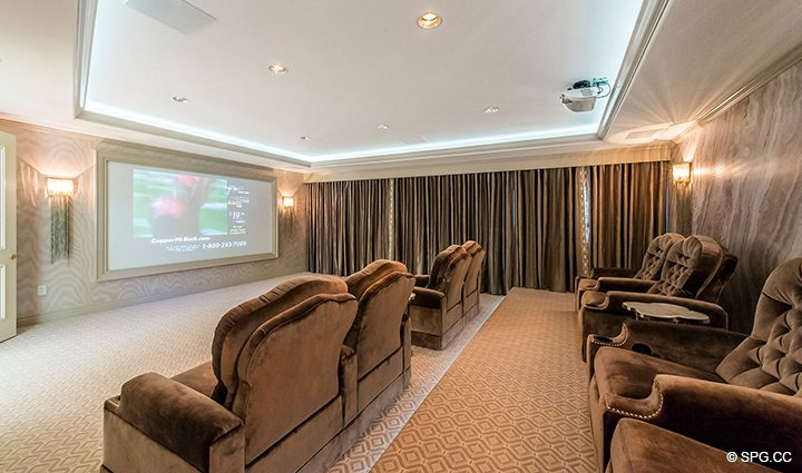 Movie Theatre inside Estate Home 709 Idlewyld Drive, Fort Lauderdale, Florida 33301
