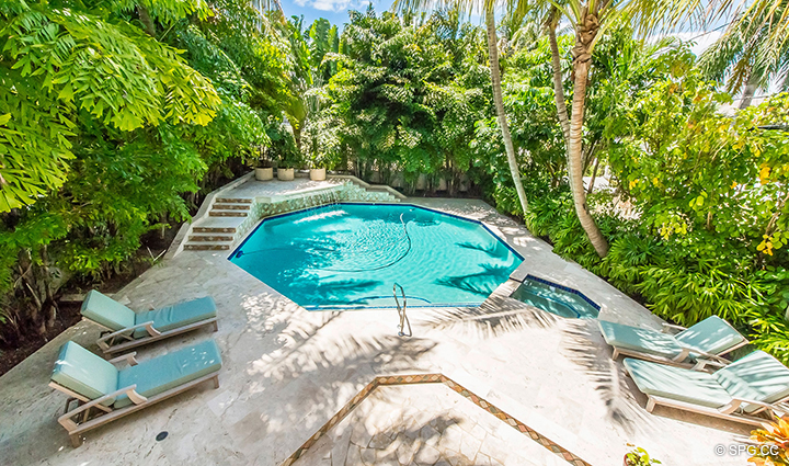 Aerial View of Pool from Estate Home 709 Idlewyld Drive, Fort Lauderdale, Florida 33301