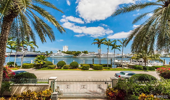 Front Door View of Intracoastal from Estate Home 709 Idlewyld Drive, Fort Lauderdale, Florida 33301