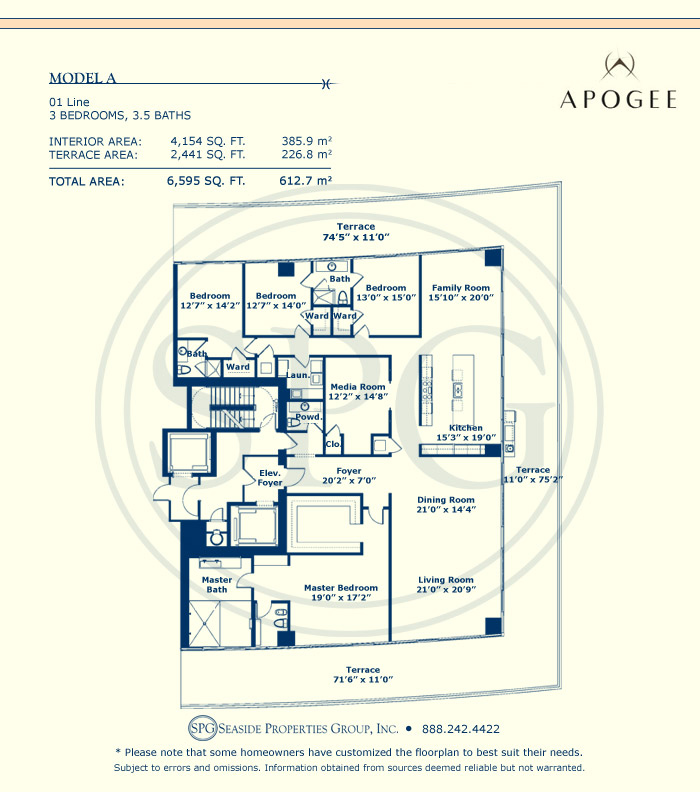 Model A Floorplan at Apogee, Luxury Oceanfront Condo in Miami Beach